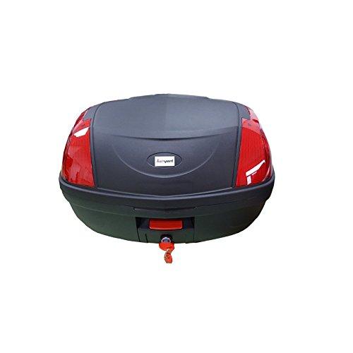 Baul Top Case para Moto. Capacidad de 52 litros para Dos Cascos modulares y mas Accesorios. Color Negro, con catadriópticos Rojos. Scooter, ciclomotor, Motocicleta, maxiscooter, ATV.