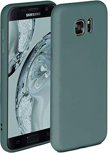 ONEFLOW Soft Case kompatibel mit Samsung Galaxy S7 Hülle aus Silikon, erhöhte Kante für Bildschirmschutz, zweilagig, weiche Handyhülle - matt Petrol
