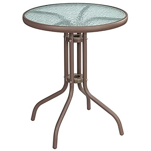 LITA Mesa de comedor al aire libre con extremo de cristal de metal, mesa auxiliar de café/escritorio/mesa de vino utilizada en sala de estar, patio, comedor, exterior e interior (marrón)