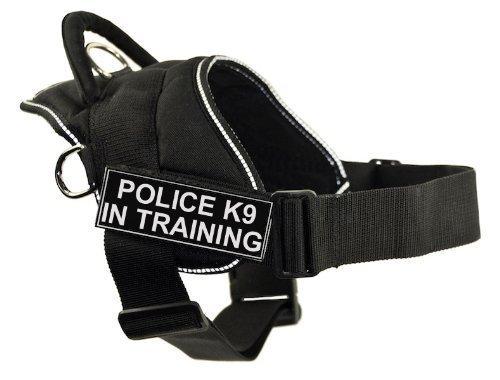 Dean & Tyler DT Fun Works Geschirr Police K9 im Training, schwarz mit reflektierendem Rand, Größe M – passend für Umfang: 71,1 cm bis 86,4 cm