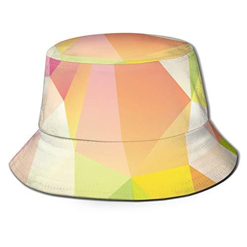 Yoliveya Sombrero de Pesca,Diseño de Fondo Estilo Origami geométrico Abstracto,Senderismo para Hombres y Mujeres al Aire Libre Sombrero de Cubo Sombrero para el Sol