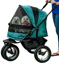 Pet Gear NO-ZIP Double Pet Stroller, Zipperless Entry, for Single or Multiple Dogs/Cats, Plush Pad + Weather Cover Included, Large Air Tires