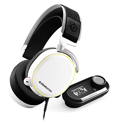 SteelSeries Arctis Pro + GameDAC Wired Gaming Headset - Certified Hi-Res Audio - Dedicated DAC and Amp - for PS5 PS4 and PC - White