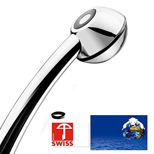 Handbrause SwissClima BLACK WOW! geeignet für Durchlauferhitzer und Duschende, die unter tiefem Wasserdruck leiden: kräftiger Strahl, druckerhöhend, aufmachbar, hygienisch, kalkfrei, 1 Flussmenge