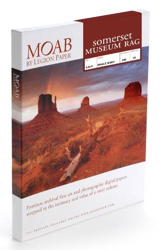 Moab Sommerset Museum Rag smr300a325Papier für Tintenstrahldrucker, Baumwolle, 300g A3+ doppelseitig weiß beleuchtet 25Blatt