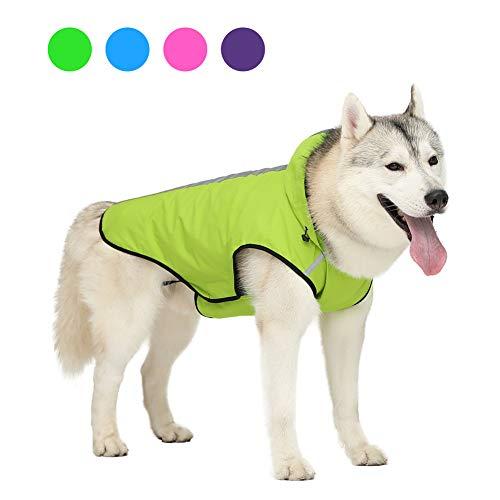 TUYU Regenmantel für Hunde mit Mütze, wasserdicht, für den Außenbereich, Polyester, für mittelgroße Hunde, große Hunde, zweiseitiger Regenmantel 1910CWL0175
