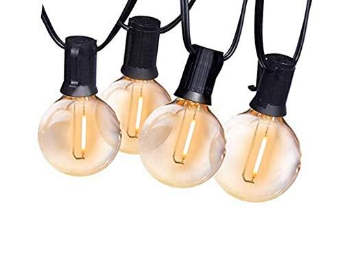 50Ft G40 Guirnaldas Luminosas de Exterior, Anting 15M Impermeable Cadena de Luces con 25 Bombillas LED E12, Decorative Guirnalda de Luces para Jardín Terrace Patio Fiesta Boda(1 Bombilla de Repuesto)