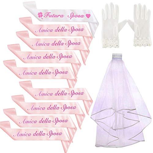 Kit 13pz Bride to be Gadget Addio al Nubilato Fascia Futura Sposa Italiano+ Velo da Sposa +Guanti +10 Fascia Amica della Sposa Italiano