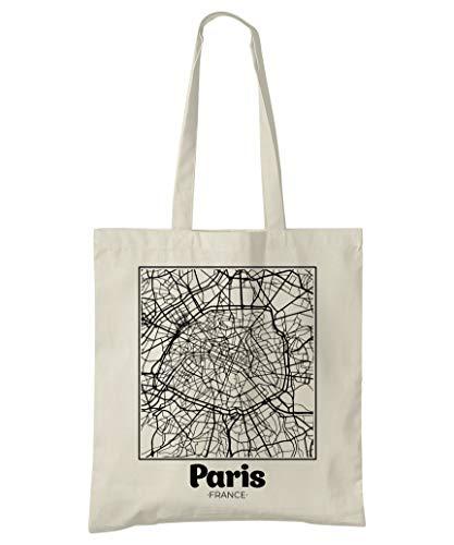 Super Cool Totes Paris, Frankreich, Stadtplan Einkaufstasche (Design 2)