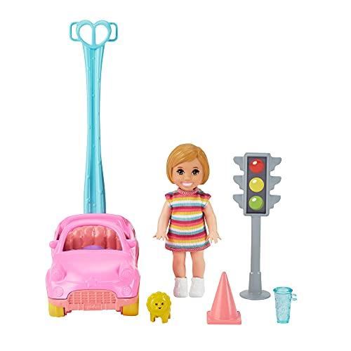Barbie Skipper Muñeca bebé con cohe para arrastar de juguete y accesorios para jugar, regalo para niñas y niños +3 años (Mattel GRP17)