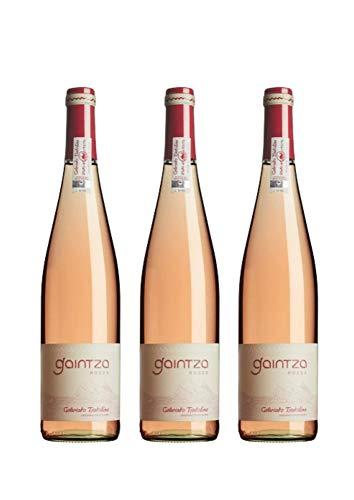 Gaintza Txakolina Roses, vendimia 2019, caja de 3 botellas. Denominación de origen Getariako Txakolina, Txakolí de Getaria, vino rosado