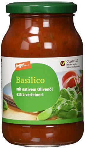 tegut… Nudelsoße Basilico Glas – frisches Basilikum – Italienische Tomaten – fruchtiger Geschmack – zum erwärmen – wiederverschließbar,1 x 400 g
