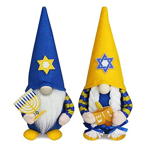 Hanukkah Gnome Jewish Gnome Decorations, 2 Pcs Handmade Mr & Mrs Chanukah Swedish Tomte Gnomes Plush Table Ornaments Gift for Hanukkah Party Supplies Home Decor