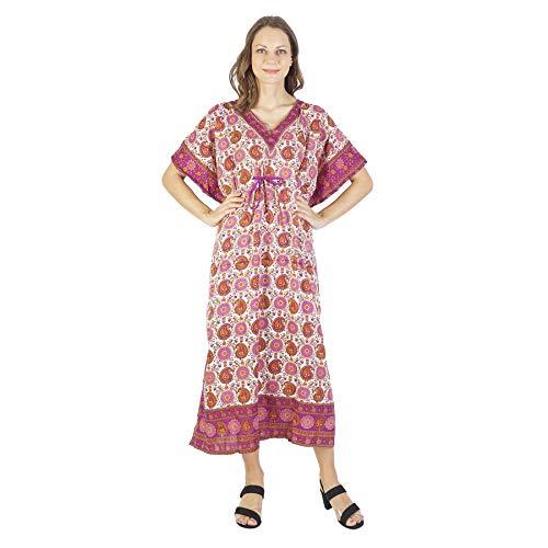 Womens Dress Long Kaftan Plus Size Kaftan Dress Tunic Long Maxi Kimono Caftan Gown Nightdress Beach Party Casual Beach Dress Floral Sleep Loungewear Women Casual Dress V Neck Loose Caftan Multi -2