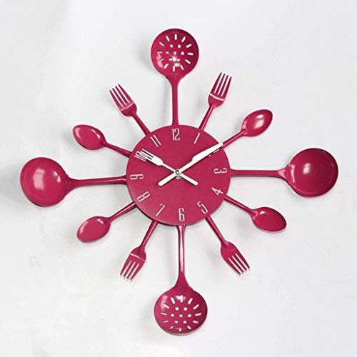 AIOJY Fashion Kitchen Head Wall Clock,Kitchen Colorful Metal Knife Fork Wall Clock,Creative Mute Clocks,Rose Red,40Cm(16Inch)