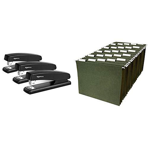 AmazonBasics 10-Sheet Capacity, Non-Slip, Office Stapler with 1000 Staples, Black - Pack of 3 & Hanging Organizer File Folders - Letter Size, Green - Pack of 25