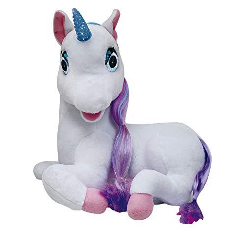 Redstring Peluche Unicornio Luna cuentacuentos, ¡Habla, Mueve Sus Ojos, Boca y su Cuerno se Ilumina Dimian Version Alemana, Multicolor (RS412201)