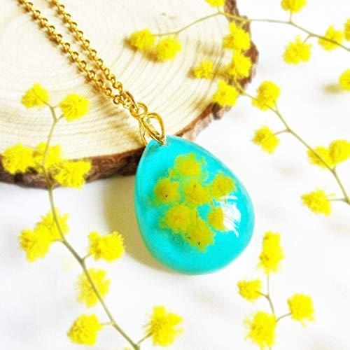 Goldkette Blauer Tropfen Anhänger, Gelbe Mimose Blumen Halskette, Sommer Schmuck Damen, Besonderes Geschenk