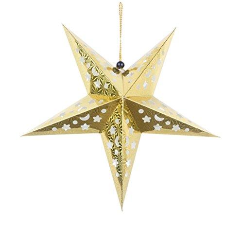 OULII 45cm Papierstern Laterne 3D Pentagram Lampenschirm für Weihnachtsweihnachtsparty Holloween Geburtstags Haus hängende Dekorationen (golden)