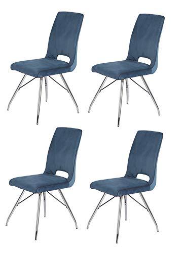 Meubletmoi - Set di 4 sedie in velluto blu marino e gambe in acciaio cromato, comfort e qualità, design contemporaneo, vintage, Bella