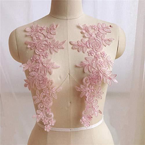 Qingsb naaien kant stoffen 2 paar 14 * 35cm kleuren ganza borduurwerk bloem grote kant applique voor trouwjurk bruidsjurk, roze