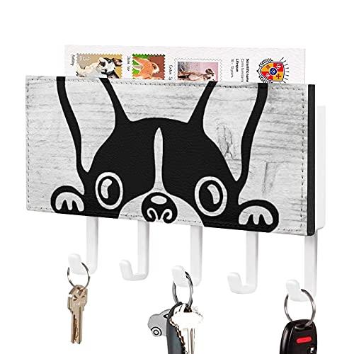Peeking French Bulldog Self Adhesive Key Holder,Key Hooks Organizer for Wall with Mail Holder,Rustic Key Hangers Home Decorative for Farmhouse Entryroom Mudroom Hallway Kitchen Office Garage