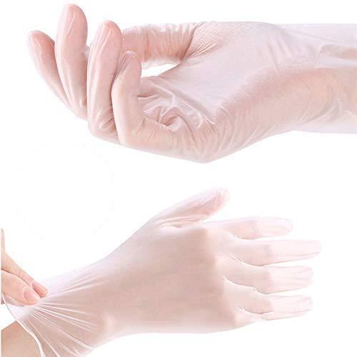 Guantes de vinilo transparente, Guantes deshechables de PVC, 100% sin polvo/sin látex de poliuretano (TALLA M)