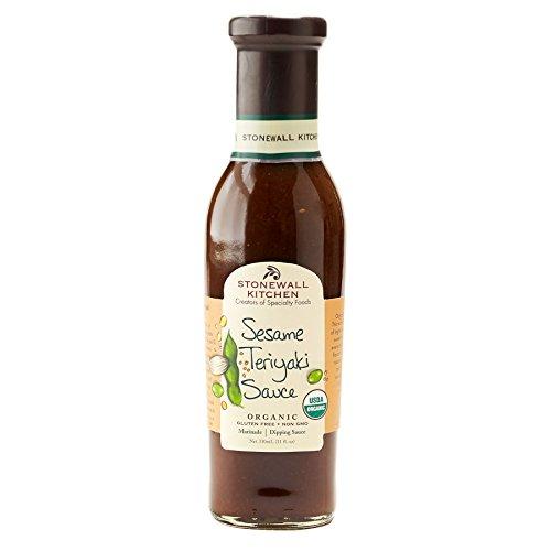 Organic Sesame Teriyaki Sauce (330 ml) von Stonewall Kitchen - glutenfreie Teriyaki Sauce mit Öl aus geröstetem Sesam - mit geröstetem Knoblauch und Wildblütenhonig verfeinert
