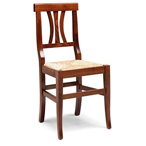 Mobili Ilar Lot de 2 chaises Arte Povera - Noyer 122 assise paille