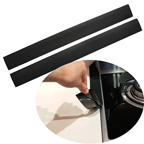 "Silicone Stove Counter Gap Cover Kitchen Counter Gap Filler by Kindga 25"" Long Gap Filler Sealing Spills Between Kitchen Appliances Washing Machine and Stovetop, Set of 2 (Black)"