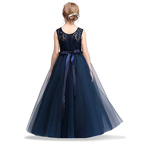 HUANQIUE Robe de Princesse Fille Mariage Demoiselle d'Honneur Taille Haute Dentelles, Marine, 11-12 Ans(étiquette 160)
