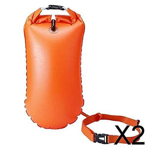 lahomia 2xSwim Bubble Tow Flotador Boya Bolsa de Aire Inflable Agua Abierta 20L Naranja 27x63cm