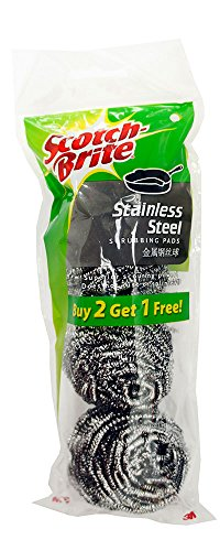 Scotch-Brite Stainless Steel Scrubbers, 3 Pack