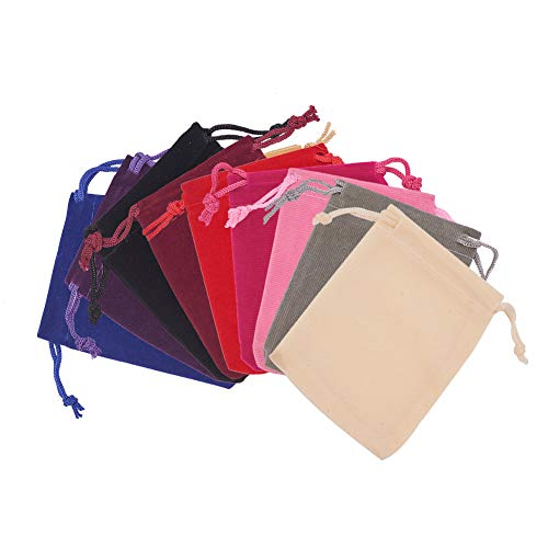 PandaHall 40 Pack 10 Color Velvet Jewelry Pouches Bags, 7X9cm Velvet Drawstring Bags Jewelry Pouches Candy Gift Bag Pouch Christmas Wedding Favor for Jewelry, Gifts, Event Supplies