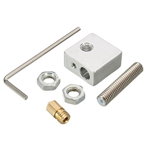 ILS - 3D Printer Extruder Nozzle Print Head + Nozzle Throat + Heater Block Kit