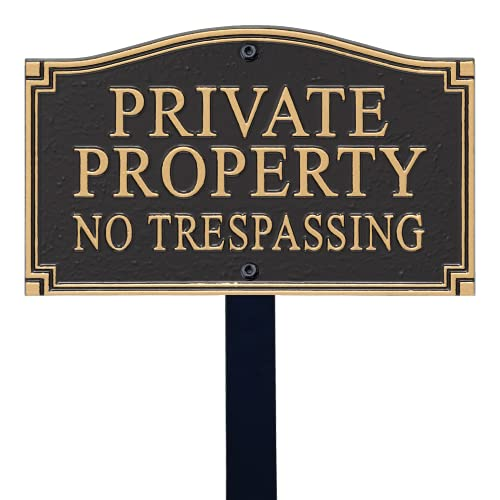 """SmartSign """"Private Property, No Trespassing"""" GardenBoss Statement Plaque 