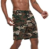 G Gradual Men's 7' Workout Running Shorts Quick Dry Lightweight Gym Shorts with Zip Pockets Green Camo