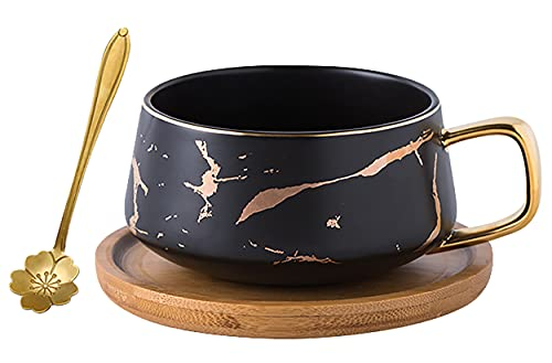 Jusalpha 10 oz Golden Hand Print Tea Cup And Saucer Set/Coffee Cup And Bamboo Saucer Set TCS19 (Black)