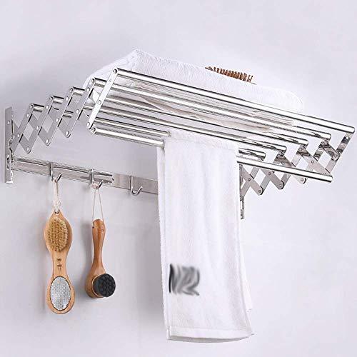 CFJDX Toallero extensible montado en la pared, tendedero con ganchos de acero inoxidable para interior y exterior, plegable, 70 cm