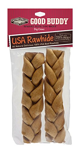 Good Buddy Usa Rawhide Braided Sticks For Dogs, 7 To 8-Inch, 2 Count (Pack Of 1)
