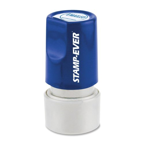 Stamp-Ever Pre-Inked Round Message Stamp, E-Mailed, Stamp Impression Size: 3/4-Inch Diameter, Blue (5972)