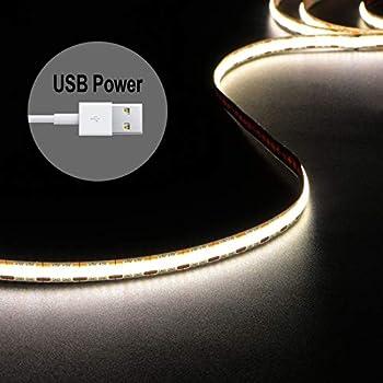 LED Strip Lights USB Powered 1.5m/4.9ft COB LED Strip Light 1200lm 4000K Daylight 80+ Hight CRI LED Tape Lights 480 LEDs Rope Lights for TV Backlight Bedroom Cabinet Kitchen DIY Lighting