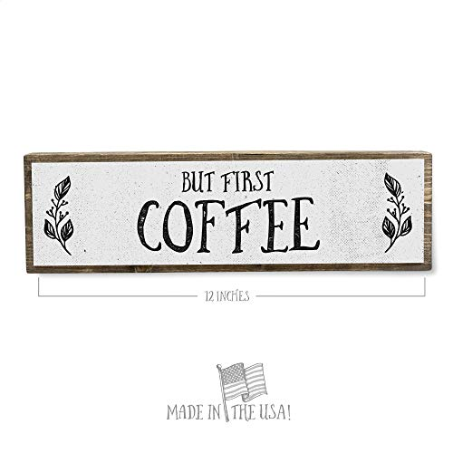 ANVEVO But First Coffee - Handmade Metal Wood Coffee Sign – Cute Rustic Wall Decor Art - Farmhouse Decorations – Coffee Signs for Home Decor