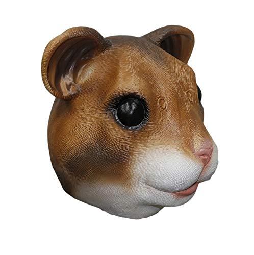 HENGYUTOY Maske Latex Hamster Kopf Maske Tier Weihnachten Halloween Kostüm Party Dekoration Zubehör Hamster Kostüm