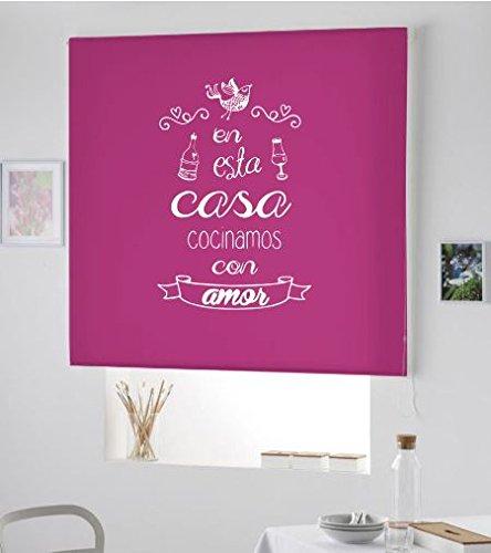 Estor Cocina Ventana- Cortina ESTORES Enrollable para Cocina con Frase- Cortina Modelo COCINAMOS con Amor (Rosa Fucsia, 140X175)