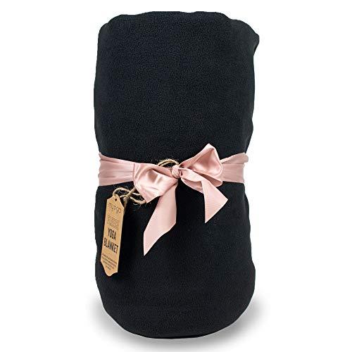 Myga RY1326 - Manta de forro polar para yoga y yoga, cojín para meditación y práctica de yoga, manta suave y acogedora, color negro