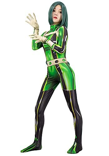 DAZCOS Womens Asui Tsuyu Cosplay Costume Green Jumpsuit (X-Small)