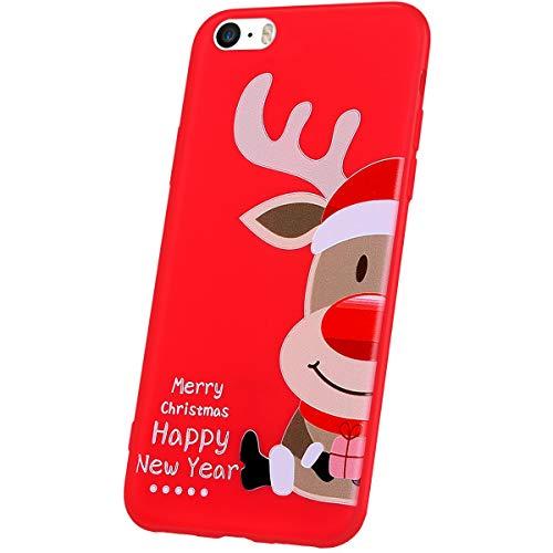 JAWSEU Compatible avec iPhone SE Coque Motif de Noël,iPhone 5S Housse Silicone Rouge Noël Ultra Mince Souple TPU Téléphone Coque Case Bumper Antichoc pour iPhone 5S/SE,Noël