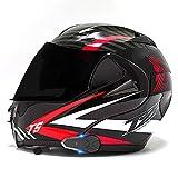 SJAPEX Bluetooth Integrado Casco de Moto Modular/FM/con Doble Anti Niebla Visera Cascos de Motocicleta Prueba de Viento para Adultos Hombres Mujeres ECE Homologado B,L=59~60cm