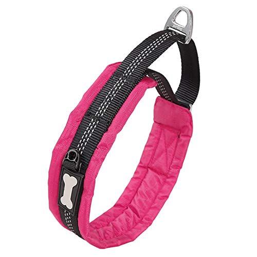 Xbshmw Collar de Nailon para Adiestramiento de Perros, Collar de Perro Reflectante Ajustable para Exteriores, Acolchado Collar Transpirable, para Perros Pequeños, Medianos y Grandes, Ligero,Rosado,S